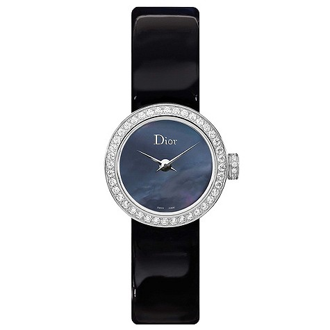 Christian Dior black mother of pearl black strap watch