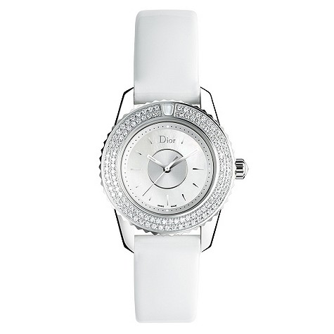Christian Dior diamond bezel white strap watch