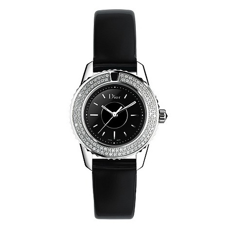 Christian Dior diamond bezel black strap watch
