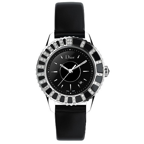 Christian Dior ladies' diamond date dial black strap watch