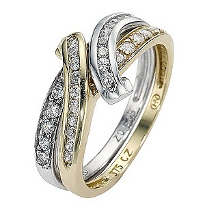 Silver and 9ct Gold Cubic Zirconia Puzzle Ring - Size L