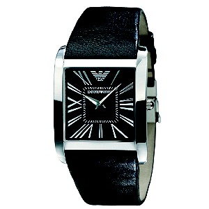 Emporio Armani men's square black dial leather strap watch - Product number 8430462