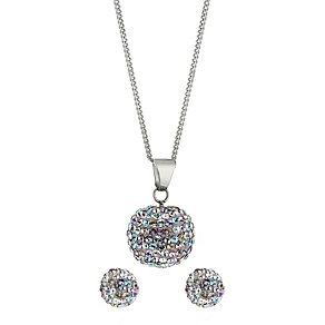 Sterling Silver Crystal Ball Pendant and Earrings Set - Product number 8430799