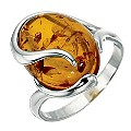 Sterling Silver Amber Ring - Size Small - Product number 8430853