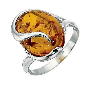 Sterling Silver Amber Ring - Size Medium