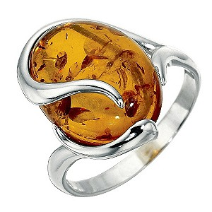 Sterling Silver Amber Ring - Size Large