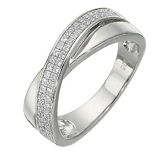 Sterling Silver Cubic Zirconia Ring - Size Medium