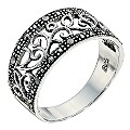 Silver Marcasite Swirl Design Ring Size P - Product number 8431019
