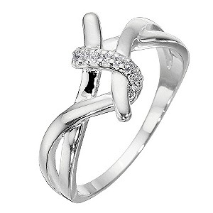 Sterling Silver And Cubic Zirconia Twist Ring - Size Medium