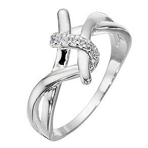 Sterling Silver And Cubic Zirconia Twist Ring - Size Medium - Product number 8431035