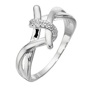 Sterling Silver And Cubic Zirconia Twist Ring - Size Large