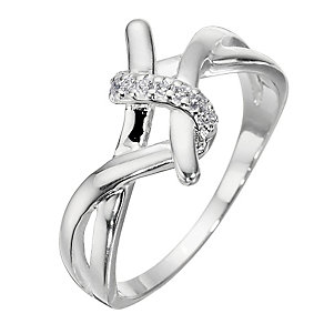 Sterling Silver And Cubic Zirconia Twist Ring - Size Large - Product number 8431043