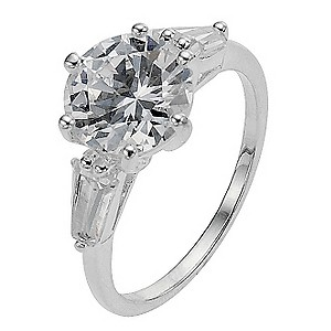 Sterling Silver Cubic Zirconia Solitaire Ring - Size P
