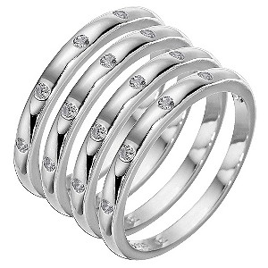 Sterling Silver Cubic Zirconia Stacker Ring Set - Small