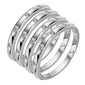 Sterling Silver Cubic Zirconia Stacker Ring Set - Medium