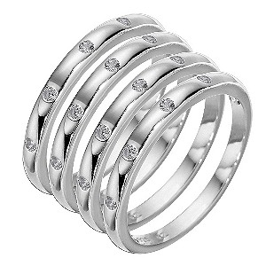 Sterling Silver Cubic Zirconia Stacker Ring Set - Large