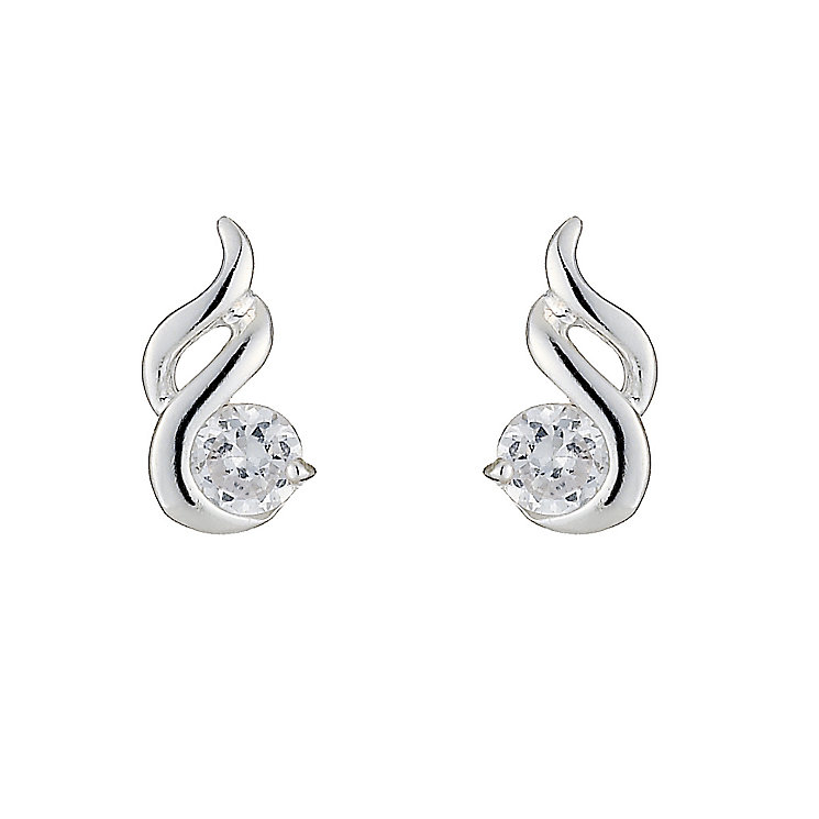 Sterling Silver Cubic Zirconia Fancy Stud Earrings - Product number 8432031