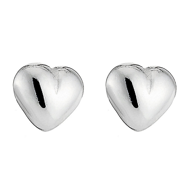Sterling Silver Plain Heart Stud Earrings - Product number 8432120