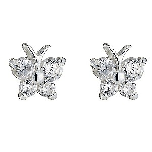 Sterling Silver Cubic Zirconia Butterfly Stud Earrings - Product number 8432139