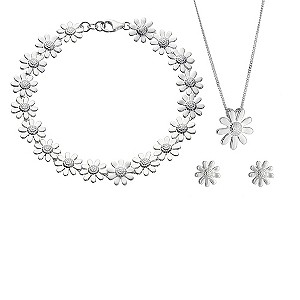 sterling Silver Daisy Pendant, Bracelet and product image