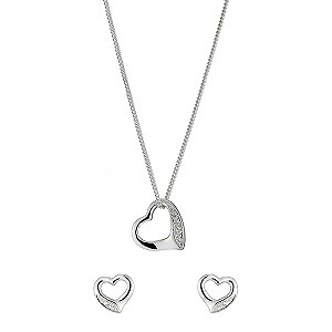 Sterling Silver Cubic Zirconia Heart Pendant and Earrings - Product number 8432805