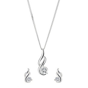 Sterling Silver Cubic Zirconia Fancy Pendant and Earrings - Product number 8432813