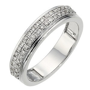 9ct White Gold 1/4ct Diamond 2 Row Wedding Ring