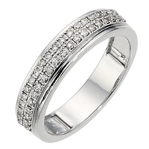 9ct White Gold 1/4ct Diamond 2 Row Wedding Ring - Product number 8437939
