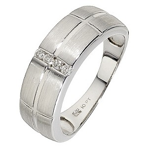 Men's 9ct white gold diamond & groove ring - Product number 8438927