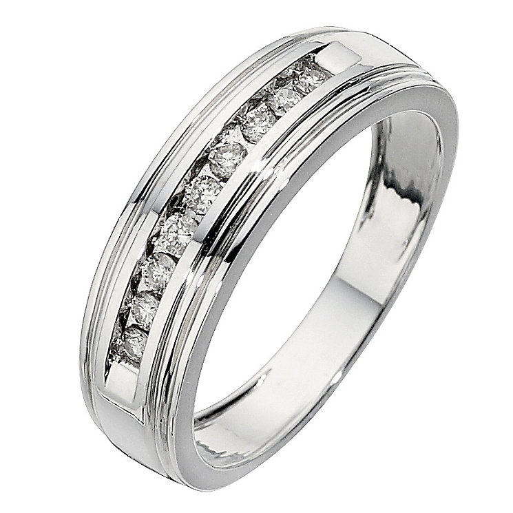 Men's 9ct white gold 0.25ct diamond ring - Product number 8439192