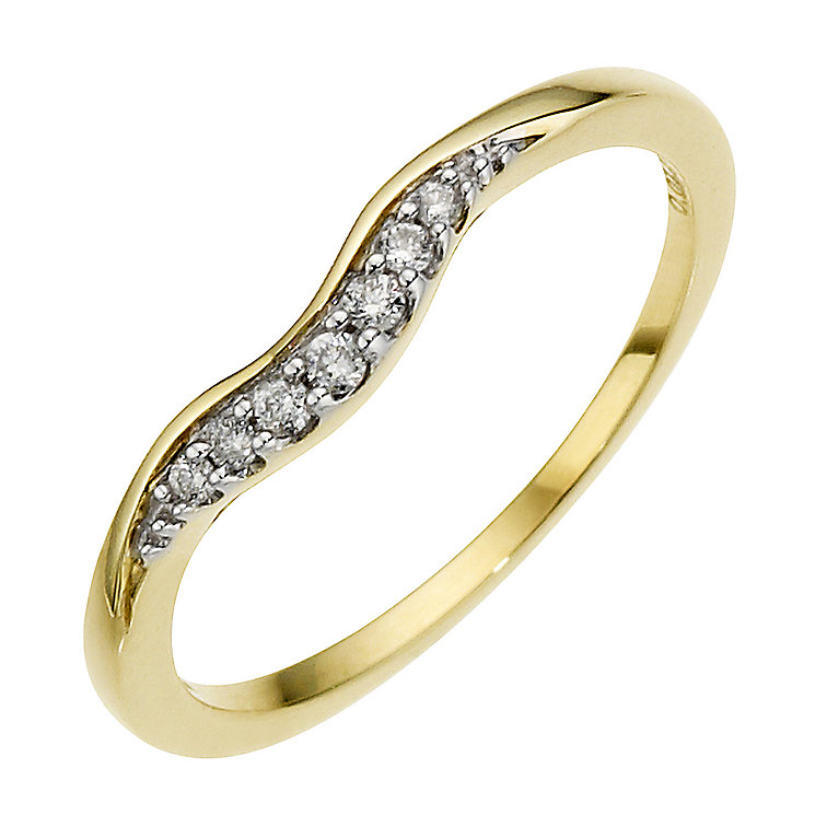 9ct Yellow Gold And Diamond Wedding Band - Product number 8441359