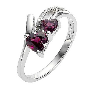 Sterling Silver Diamond and Rhodolite Ring