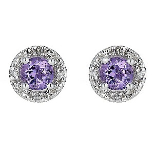 9ct White Gold Amethyst and Diamond Stud Earrings product image