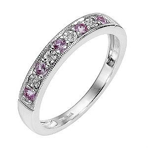 9ct White Gold Pink Sapphire and Diamond Milgrain Ring