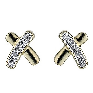 Diamond Kisses 9ct Gold Two Colour Diamond Kiss Earrings product image