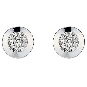 9ct White Gold Illusion Set Diamond Rub Over Stud Earrings - Product number 8445338