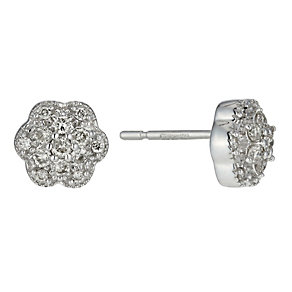 9ct White Gold Quarter Carat Diamond Flower Cluster Earrings - Product number 8445362