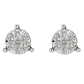 9ct White Gold Illusion Set Diamond Three Claw Stud Earrings - Product number 8445370