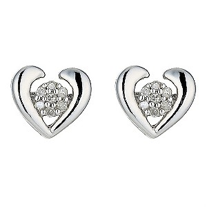 9ct White Gold Diamond Set Heart Stud Earrings product image