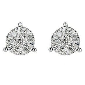 9ct White Gold One Fifth Carat Illusion Set Diamond Earrings - Product number 8445419