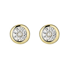 9ct Gold Two Colour Illusion Set Diamond Stud Earrings - Product number 8445613