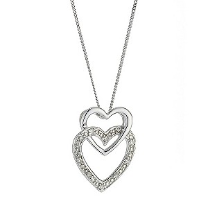 9ct White Gold Diamond Set Double Open Heart Pendant - Product number 8445656