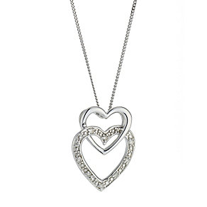 9ct White Gold Diamond Set Double Heart Pendant - Product number 8445656