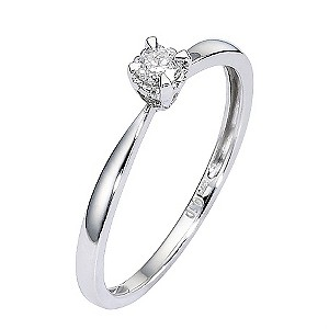 9ct White Gold Diamond Solitaire Illusion Four Claw Ring