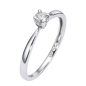 9ct White Gold Diamond Solitaire Illusion Four Claw Ring - Product number 8445753