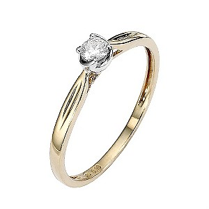 9ct Gold Two Colour Diamond Solitaire Twist Ring