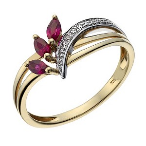 9ct Gold Two Colour Marquise Cut Ruby and Diamond Ring