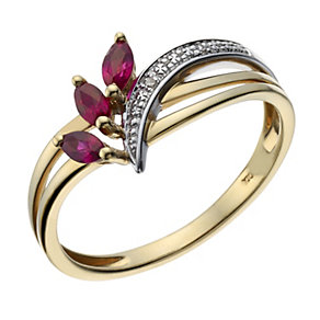 9ct Gold Two Colour Marquise Cut Ruby and Diamond Ring - Product number 8446415