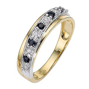 9ct Gold Two Colour Sapphire and Diamond Crossover Ring