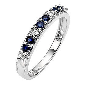 9ct White Gold Sapphire and Diamond Ring - Product number 8446687